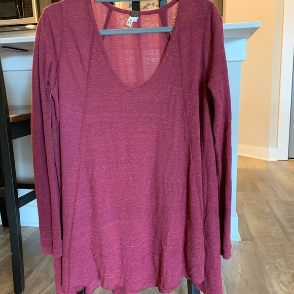 Free People Tops - FP long sleeve red shirt